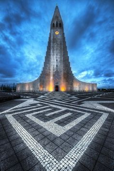 Midnight at the Hallgrimskirkja, the biggest church in Reykjavik, Iceland - www.davemorrowphotography.com
