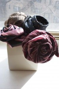 DIY Tie Roses A bouquet of flowers made from men's neckties.  Easy to make, cute gift for Fathers Day or Valentines day for your man.