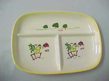 Brock of California Farmhouse Divided Serving Dish Relish Tray Vintage Chicken
