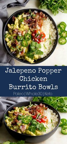 """A creamy and """"cheesy"""" based jalapeño sauce takes center stage here as it smothers chicken and bacon in the most delicious way! Served over cauliflower rice, and will all kids of burrito toppings that you love. This easy meal is bound to make an appearance Jalepeno Popper Chicken, Jalapeno Poppers, Jalapeno Sauce, Paleo Recipes, Mexican Food Recipes, Dinner Recipes, Cooking Recipes, Paleo Food, Paleo Diet"""