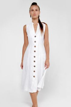 White Linen Dress with Wooden Buttons