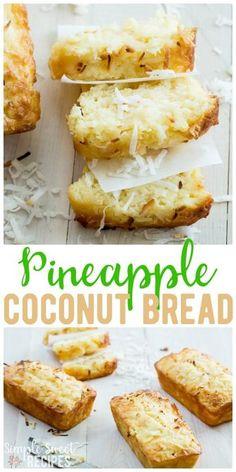 Pineapple Coconut Bread, Coconut Bread Recipe, Coconut Recipes, Pineapple Recipes Healthy, Pina Colada Bread Recipe, Pineapple Muffins, Coconut Tea, Coconut Banana Bread, Pineapple Cookies