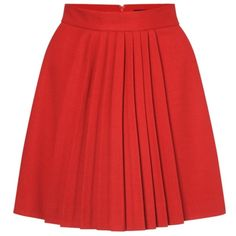 French Connection Arte Wool Pleated Skirt, Red, 16, found on polyvore.com