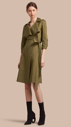 Oversize Lapel Stretch Cotton Trench Dress Olive | Burberry