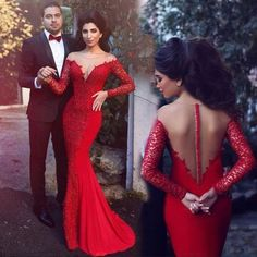 A112 sexy v neck backless see through long prom dress, red long lace sleeve…