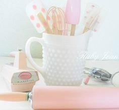 baking essentials in a Hobnail Milk Glass Pitcher.  I want to do this!!
