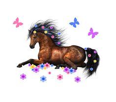 HORSE DECAL GIRL Pony Wall Art Stickers Barnyard Farm Animal Room Decor Childrens Cowgirl Bedroom Baby Nursery KIds Wild Flowing Floral Mane #decampstudios