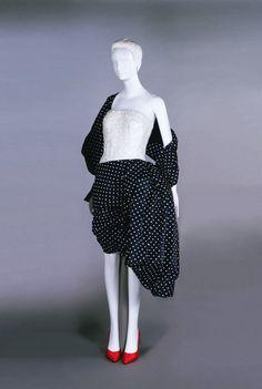 Ensemble, Navy silk taffeta with white dots, white lace, Givenchy, spring 1990