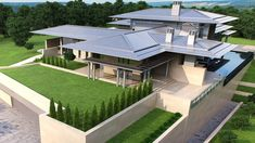Restaurant Kitchen Design, Courtyard House Plans, Roof Design, House Roof, Cabin Homes, Modern House Design, Villa, Mansions, House Styles