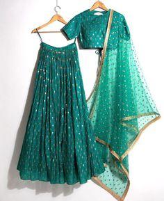 Beautiful Silk Lehenga-Choli with Hand Embroidery embellishments. Half Saree Lehenga, Lehnga Dress, Red Lehenga, Party Wear Lehenga, Indian Lehenga, Anarkali, Churidar, Indian Bridal Fashion, Indian Wedding Outfits