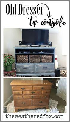 dresser Into TV Stands 4 drawer dresser-#dresser #Into #TV #Stands #4 #drawer #dresser Please Click Link To Find More Reference,,, ENJOY!! Refurbished Furniture, Repurposed Furniture, Furniture Makeover, Diy Furniture, Chair Makeover, Furniture Refinishing, Trendy Furniture, Tv Stand Makeover, Repurposed Items