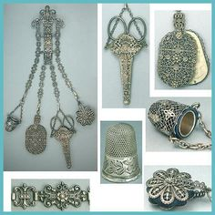 Antique Filigree Sewing Chatelaine * 4 Chains & Tools * Circa 1890 | eBay