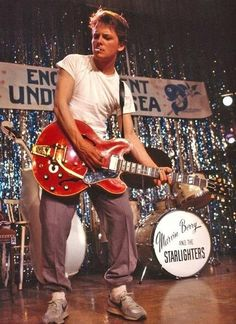 """Michael J Fox as Marty McFly rocking out to """"Johnny B. Goode"""", Back To The Future 80s Movies, Iconic Movies, Classic Movies, Great Movies, Movie Tv, Movie Scene, 1980s Films, Indie Movies, Comedy Movies"""