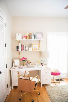 23 Girly Chic Home Decor Ideas for a Ladylike Home - chic office with pops of…