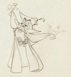 Animation art:production drawing, sleeping beauty owl and forest animals production drawing(walt Disney Pencil Drawings, Disney Sketches, Animal Drawings, Art Drawings, Disney Concept Art, Disney Art, Illustrations, Illustration Art, Disney Sleeve