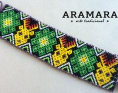Mexican Huichol Loom Beaded Deer Eagle and Peyote by Aramara
