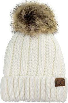 ff0df73359540b C.C Thick Cable Knit Faux Fuzzy Fur Pom Fleece Lined Skull Cap Cuff Beanie,  Maroon at Amazon Women's Clothing store:
