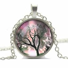 2014 Christmas Gifts Glass Cabochon Silver Family Life Art Tree Necklace Pendant Chain Necklace Fashion For Women Men(China (Mainland))
