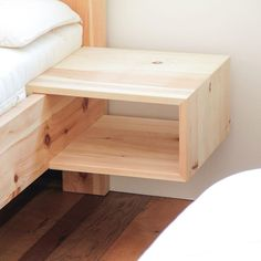 Practical hanging box made of solid z . Practical hanging box made of solid pine wood. Due to the simple appearance of this bedside table made of stone pine to all stone pine beds and so the bed can be extended later – just hang in the bed frame. Pallet Furniture, Bedroom Furniture, Home Furniture, Furniture Design, Pine Wood Furniture, Furniture Dolly, Furniture Layout, Handmade Furniture, Furniture Ideas