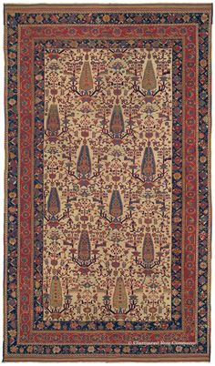 """AFSHAR """"CYPRESS TREE"""", Southeast Persian (SOLD), 6ft 6in x 11ft 4in, Circa 1825. This exceptional collector's antique rug, dating to circa 1825, is a world-class example of the famed Afshar """"Cypress Tree"""" design. This tribal rug excels in all aspects: exquisite articulation of an extremely rarely seen design, masterful use of color, superlative craftsmanship and excellent condition at nearly 200 years old. The individual drawing of the cypress trees is of particular distinction."""
