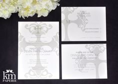 really pretty and chic religious wedding invitation suite!  kmpaperie.etsy.com