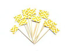 12 Yellow Chevron Cupcake Toppers  Washi Tape Cupcake by Pelemele, £4.20