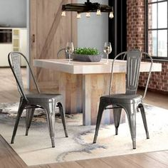 Claremont Dining Chair Set of 2 Metal Chairs, Side Chairs, Bench Set, Warm Undertone, Stackable Chairs, Rubber Flooring, Dining Chair Set, Space Saving, Hardwood Floors