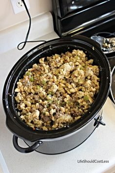 Nana Bessie's Sausage Stuffing, A Crockpot Recipe. Enough to feed a crowd, but can easily be split in half. The best stuffing ever!
