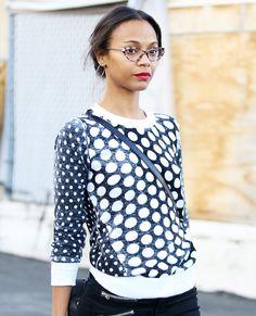 Eye Spy: Celebrities Wearing Stylish Specs - Zoe Saldana from #InStyle