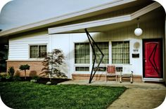 Look at that decorative ironwork!!!  The angle of the roofline!!  Secret Design Studio knows Mid Century Modern Architecture.  www.secretdesigns...