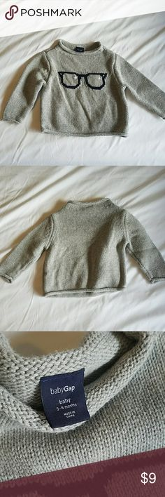 Baby GAP baby eyeglasses sweater Gray sweater wirh baby blue specs. Adorable, preppy baby wear! Roll hem at neck, sleeves, and along bottom. Like new! GAP Shirts & Tops Sweaters