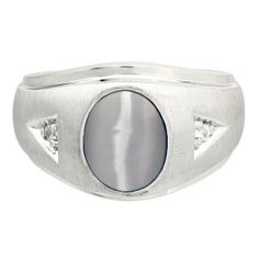 Diamond and Oval Grey Cat Eye Gemstone Men's White Gold Ring Available Exclusively at Gemologica.com
