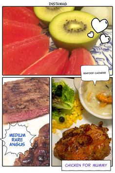 Old school 3 course dinner   seafood chowder soup, steak with salad+corn+blueberry, no fancy sweet treats but fresh grapefruit + kiwi + lychee as dessert.