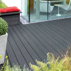 Image of Ronseal Ultimate Protection Decking Stain - slate Grey Deck Paint, Gray Deck, Back Gardens, Outdoor Gardens, Deck Design, Garden Design, Deck Colors, Decking Colours Ideas, Gardens