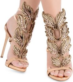 I Deserve New Shoes : Mirrored Rose Gold Sandals  by Giuseppe Zanotti Design