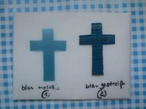 Wachsmotiv elegantes kleines Kreuz  blau(N)