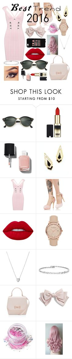 """Best Trend 2016"" by maryamsaeed1 ❤ liked on Polyvore featuring Ray-Ban, L'Oréal Paris, Chanel, Hervé Léger, Glamorous, Lime Crime, Burberry, Links of London, Ted Baker and Cara"