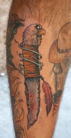 Native American Eagle Knife And Cowboy Tattoos | Tattoobite.com