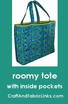 Free sewing pattern for roomy tote bag made from prequilted fabric. Has inside pocket and instructions for DIY prequilted fabric.