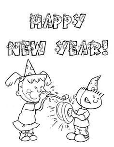 New Year Eve Enliven Two Kids Coloring Pages