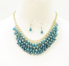 TEARDROP GLASS BEADED COLLAR NECKLACE WITH MATCHING EARRINGS - so I need ONE BEAD to fix something - though I could make matching earrings.... help!