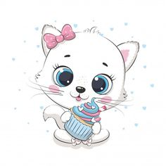 Discover thousands of Premium vectors available in AI and EPS formats Cupcake Illustration, Elephant Illustration, Fish Illustration, Baby Animal Drawings, Cute Drawings, Cute Baby Cats, Cute Babies, Adorable Kittens, Clipart