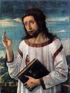 Christ Blessing - Giovanni Bellini.  c.1460.  Oil on panel.  58 x 46 cm.  Musee du Louvre, Paris.