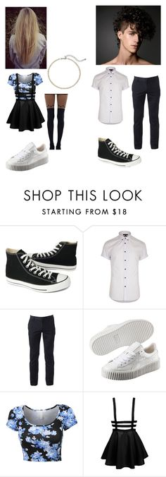 """Untitled #1635"" by george-ryan-ross-the-third ❤ liked on Polyvore featuring Converse, River Island, Urban Pipeline, Puma and Kenneth Jay Lane"