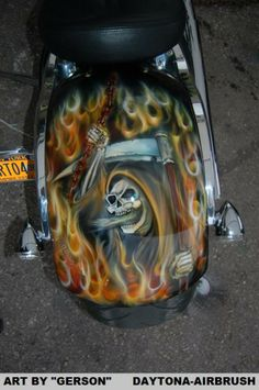 The Reaper and flames custom airbrushed by Henry Gerson of Daytona-Airbrush Custom Paint Motorcycle, Motorcycle Art, Custom Airbrushing, Air Brush Painting, Airbrush Art, Tins, Biker, Motorcycles, Tin Cans
