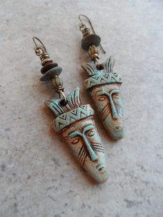 Tribal Totems ... Polymer Clay and Brass by juliethelen on Etsy