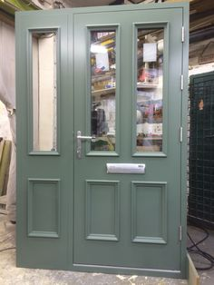 "Bespoke hardwood front door with matching sidelight, painted in farrow and ball ""green smoke"""