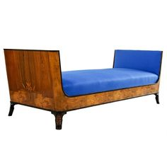 Swedish Grace Daybed by Eric Chambert, Upholstered in Blue Wool For Sale at 1stdibs