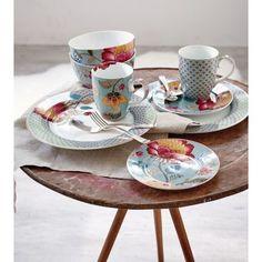 Dessertteller-Set, 2-tlg., Blumenprint, goldfarbene Verzierungen, Porzellan Katalogbild pip Studio