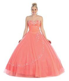 Ball Gown Formal Prom Strapless Wedding Dress #586 (4, Coral) US Fairytailes http://www.amazon.com/dp/B00BO0MDG4/ref=cm_sw_r_pi_dp_6mQmvb0BA3NRG